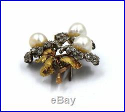 Vintage Buccellati Diamond Pearl Rose Flower Earrings Brooch Pin Suite 18k Gold