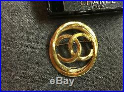 Vintage Chanel CC Gold Pearl Earrings and Brooch Pin Set with Orig. Box