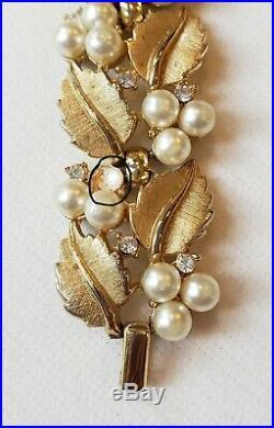 Vintage Crown Trifari Gold Tone Leaves Faux Pearls Rhinestones Demi Parure Set