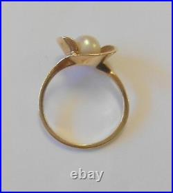 Vintage Esemco 6 mm Cultured Pearl 10K Yellow Gold Modernist Setting Ring Size 7