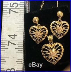 Vintage Estate 10k Gold Heart Necklace & Earring Set Drop Dangle Chain 18