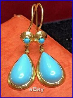 Vintage Estate 18k Gold Turquoise Pendant Earring Set Gemstone Drop Dangle Wire