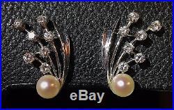 Vintage Estate 7mm Cultured Golden South Sea Pearl Diamond Earrings 18k Wg Set