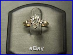Vintage Estate C1970 14K Gold 1.26TCW Pear Tear Drop Diamond Engagement Ring Set
