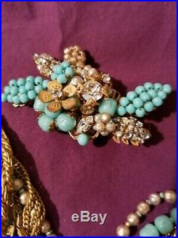 Vintage Estate DeMario Turquoise Seed Pearl Rhinestone Gold Jewelry Set