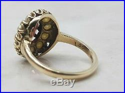 Vintage Garnet & Pearl Cluster Ring Set In 9ct 9k Yellow Gold Size O Us 7 1/2