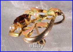 Vintage Garnet, Pearl & Enamel Pin Set in 14K Yellow Gold