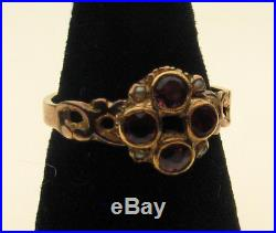 Vintage Georgian Early 19 th C Reshanked 9 Carat Gold Ring Set Spinel & Pearl