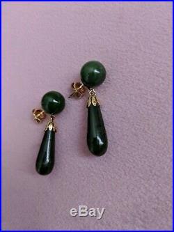 Vintage JADE 14K Yellow Gold Tear Drop Dangle Pierced Earring Set