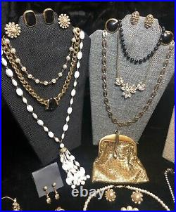 Vintage Jewelry Lot Whiting Davis Monet Coro Trifari Gold Rhinestone Pearls Sets