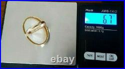 Vintage Large Mother Of Pearl Bezel Set In 14K Yellow Gold E. V. Marked Ring Sz 7