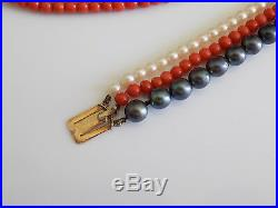 Vintage Mappin & Webb Coral and Pearl three row bracelet necklace set