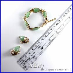 Vintage Ming's Hawaii Green Pale Jade & Pearl 14k Yellow Gold Bracelet