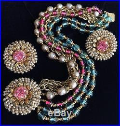 Vintage Miriam Haskell Bracelet Earrings SetPearls/Glass/Crystal/Gold ToneSign