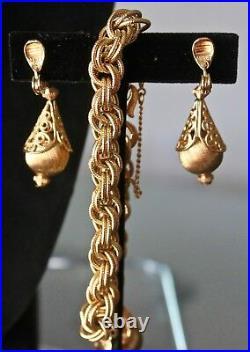 Vintage Monet Necklace Bracelot Earring Set Gold Rope Chain Tear Drop Filigree