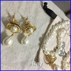 Vivienne Westwood Pearl Orb Chorker Necklace, Pierce set White/Gold/Green