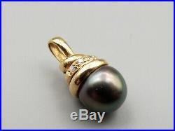 Vtg 14K Gold Black Pearl Diamond Pendant Tahitian South Sea Spiral Swirl Setting