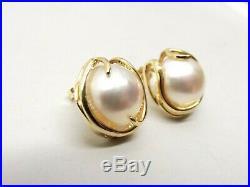 Vtg 14K Gold Mabe Blister Pearl Earrings Stud Estate Large 12.65mm Ornate Set
