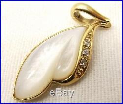 Vtg 14K Gold Mother of Pearl Shell Diamond Pendant & Earring Set Carved Leaf