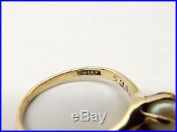 Vtg 14K Yellow Gold Ring Sz 6 Cultured Pearl 5.7mm Estate Ornate Prong Set
