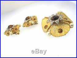 Vtg Jomaz Y/gold Tone Flower Brooch Earrings Set Tigers Eye Rhinest Faux Pearls