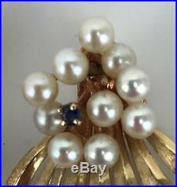 Vtg Mid Century Modern 14K Gold Sapphire Pearls Demi Parure Brooch Pin Earrings