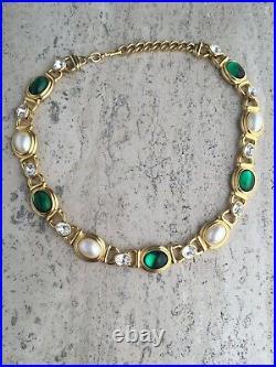 Vtg Monet Gripoix Green Cabochon Faux Pearl Runway Gold Tone Dallas Necklace