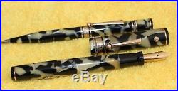 WAHL Eversharp OS Gold Seal DECO BAND Fountain Pen Pencil Black and Pearl Set