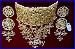 White Pearl Kundan Gold Tone Indian Bollywood Choker Necklace Set Bridal Jewelry