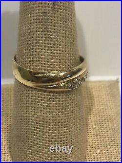 Wedding Band Ring 14K Yellow Gold Bead Set CZ Size 10 Anniversary 14KT 4.71grams