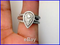 White Gold Pear Tear Drop Shape Diamonds Engagement Wedding Bridal Set Ring Halo