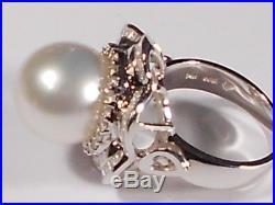 White South Sea pearl set(ring, earrings, pendant), diamonds, solid 14k white gold