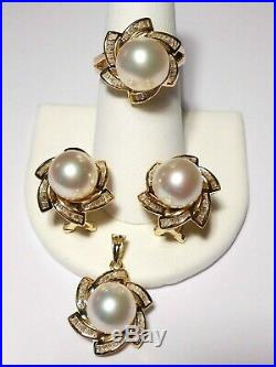 White South Sea pearl set(ring, earrings, pendant), diamonds, solid 14k yellow gold