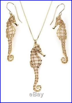 Yellow Gold Filled Pearl Small Seahorse Earrings Necklace Birthday Set Jewelry